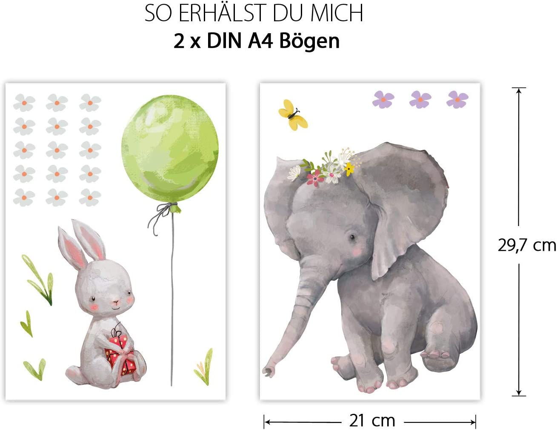 dekodino/® Fenstersticker Kinderzimmer Aquarell Elefant K/üken Fuchs