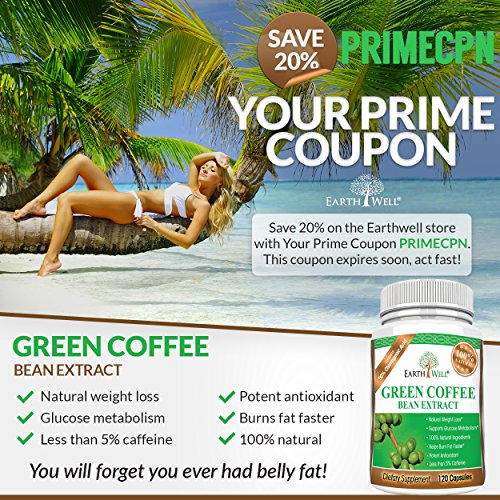 Green Coffee Bean Extract - Best Natural Weight Loss Supplement and Appetite Suppressant - Burn Fat Faster with Premium Quality Dietary Pills - 50% Chlorogenic Acid - 800mg - Pure and Clinically Proven - 120 capsules by CovertSafe (Image #1)