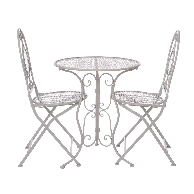 Juego de mesa con 2 sillas plegables de hierro: Amazon.es: Hogar