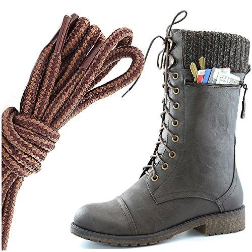 Dailyshoes Womens Combat Stijl Lace Up Enkel Bootie Ronde Neus Militaire Knit Creditcard Mes Geld Portemonnee Pocket Laarzen, Bruin Lichtbruin Bruin Pu