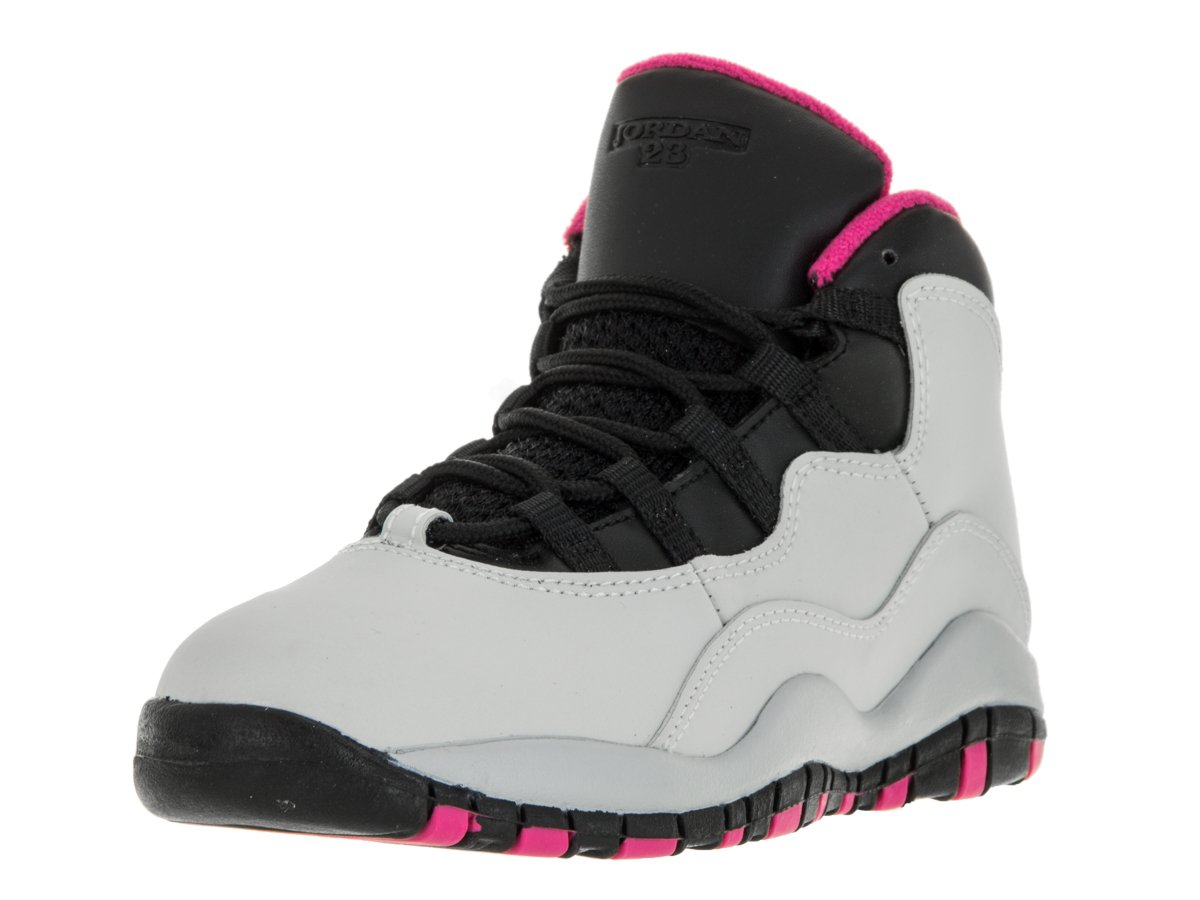 Nike Jordan Kids Jordan 10 Retro Gp Pure Platinum/Vivid Pink/Black Basketball Shoe 12.5 Kids US by Jordan