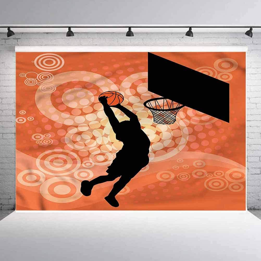 6x6FT Vinyl Photography Backdrop,Basketball,Basketball Dunk Athlete Photo Background for Photo Booth Studio Props