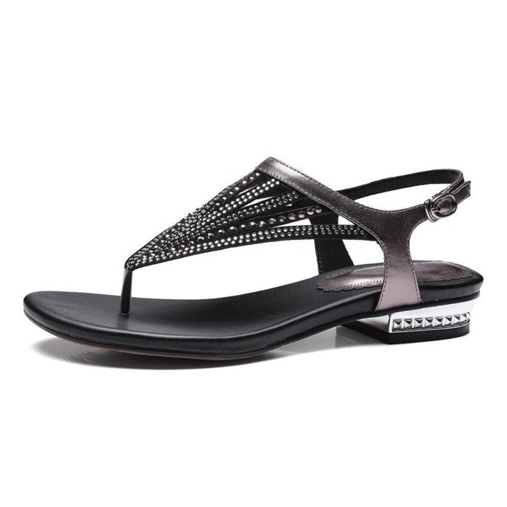 CUX Sommer Neue Leder Zehensteg Sandalen Beiläufige Heiße Bohren Grobe Niedrig Mit Fischgrät Sandalen