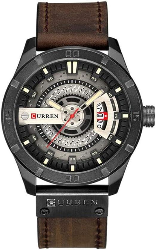 Reloj De Vestir Para Hombre Militar Impermeable Deportivo Cronógrafo Analógico De Cuarzo Moderno Correa De Cuero Negro Gris Watches