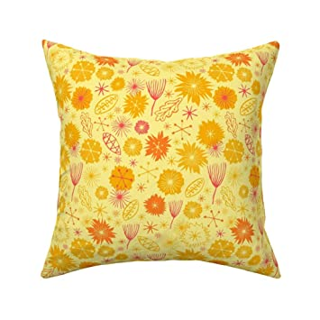 Amazon.com: Roostery Mod Yellow Floral Linen Cotton Throw ...