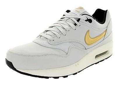 dce9806f33 NIKE Men's Air Max 1 Premium QS Pure Platinum/Mtllc Gold/Blk Running Shoe