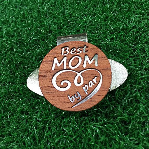 The Quintessential Hostess Best Mom By Par Engraved Golf Hat Clip and Ball Marker Mahogany Personalized for Mother's Day Gift