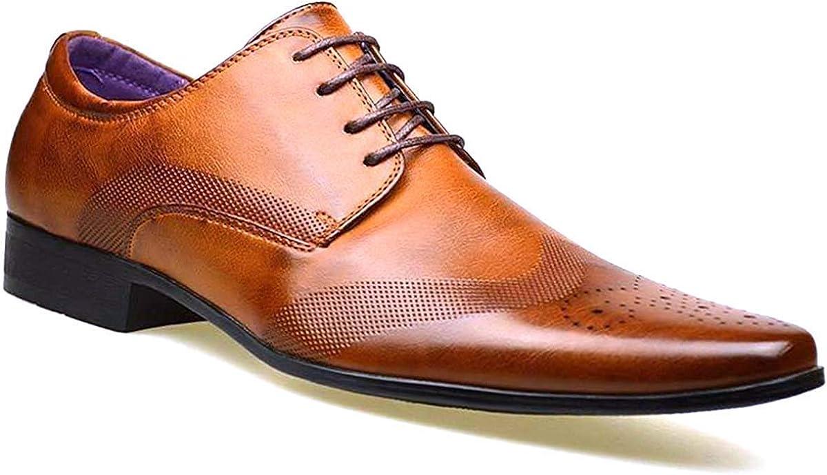 Moda Hombre Nuevo Zapatos Negros De Piel Formal Elegante Vestido talla UK 6 7 8 9 10 11