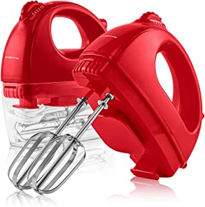 Ovente Portable Electric Hand Mixer 5 Speed Mixing, 150W Powerful Blender for Baking & Cooking with 2 Stainless Steel Chrome Beater Attachments & Snap Clear Case Compact Easy Storage, Red HM161R