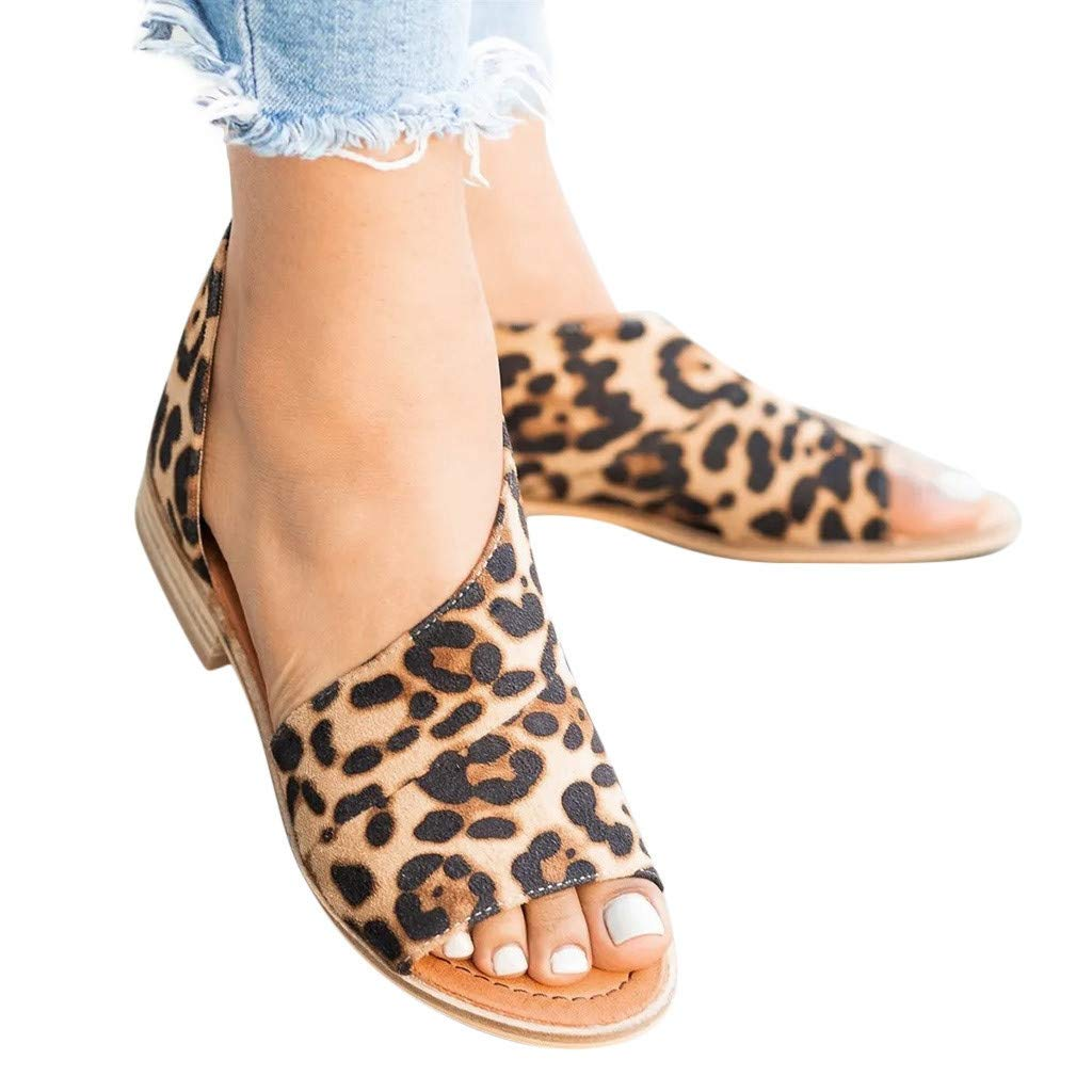 Sandals for Women THENLIAN Casual Rome Peep Toe Low Heels Leopard Square Heel Shoes Root Roman Sandals(43, Brown)