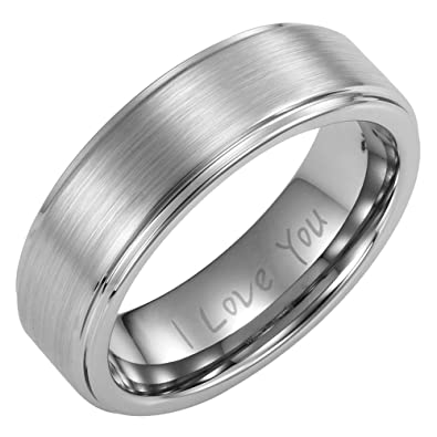 Willis Judd Mens 7mm Brushed Titanium Ring Engraved I Love You In Gift Box