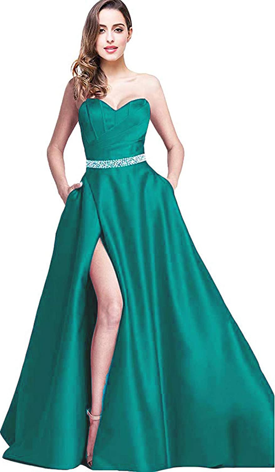 Turquoise Rmaytiked Womens Sweetheart Satin Beaded Prom Dresses Long High Slit 2019 Strapless Evening Formal Gowns with Pockets