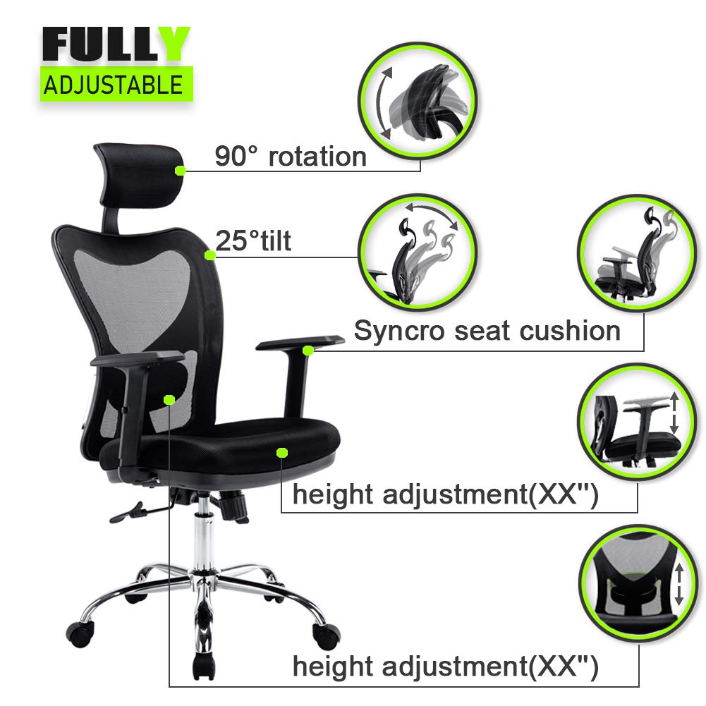 Office Chair Adjustable Swivel Desk Chair Lumbar Support and Rollerblade Wheels with Breathable High Back Mesh, Ergonomic Mesh Chair with Armrest Computer Chair for Home Office