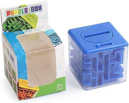 Bank Magic Maze Cube Cajas de Dinero Monedas Caja de Dinero Caja de Ahorro Juego de Rompecabezas Rolling Ball Niños Juguetes educativos Regalo - Azul: Amazon.es: Juguetes y juegos