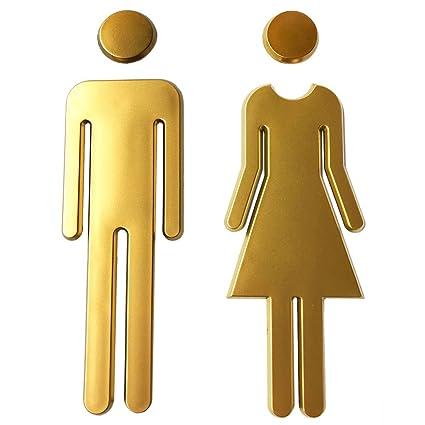 Rjwkaz Premium Funny Bathrooms Signs Acrylic Adhesive Backed Unisex Bathroom Sign 7 8 Golden