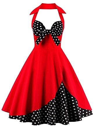 ... Vintage Rockabilly Kleid, Damen Elegant Ärmellos Abendkleid Retro  Hausfrau Swing Festliches Cocktailkleider Partykleider Gr.36-50  Amazon.de   Bekleidung c5af04a36a