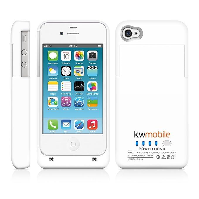 kwmobile Carcasa con cargador para iPhone 4 / 4S de Apple; capacidad: 1900 mAh; potencia: 5 V/500 mA. Multiplique la duración de la batería de su ...