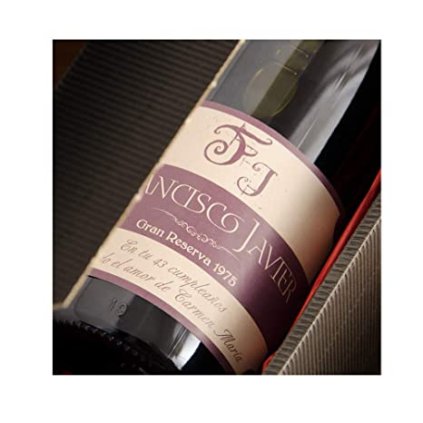 CALLE DEL REGALO Botella de Vino con Etiqueta Personalizada ...