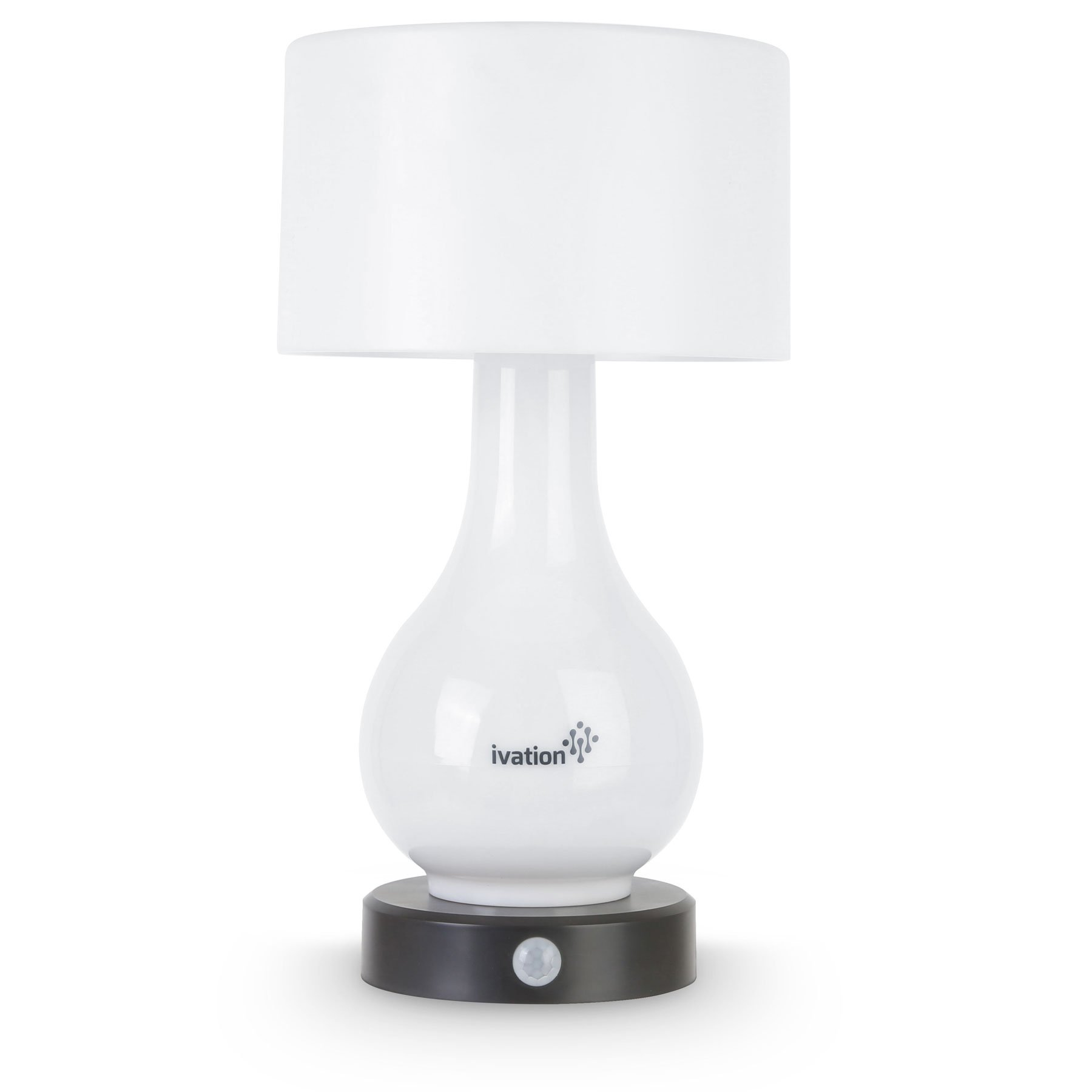 Ivation 6-LED Battery Operated Motion Sensing Table Lamp - Multi Zone Light: Body Only, Shade Only, or Both Body & Shade - can Also Light Continuously White