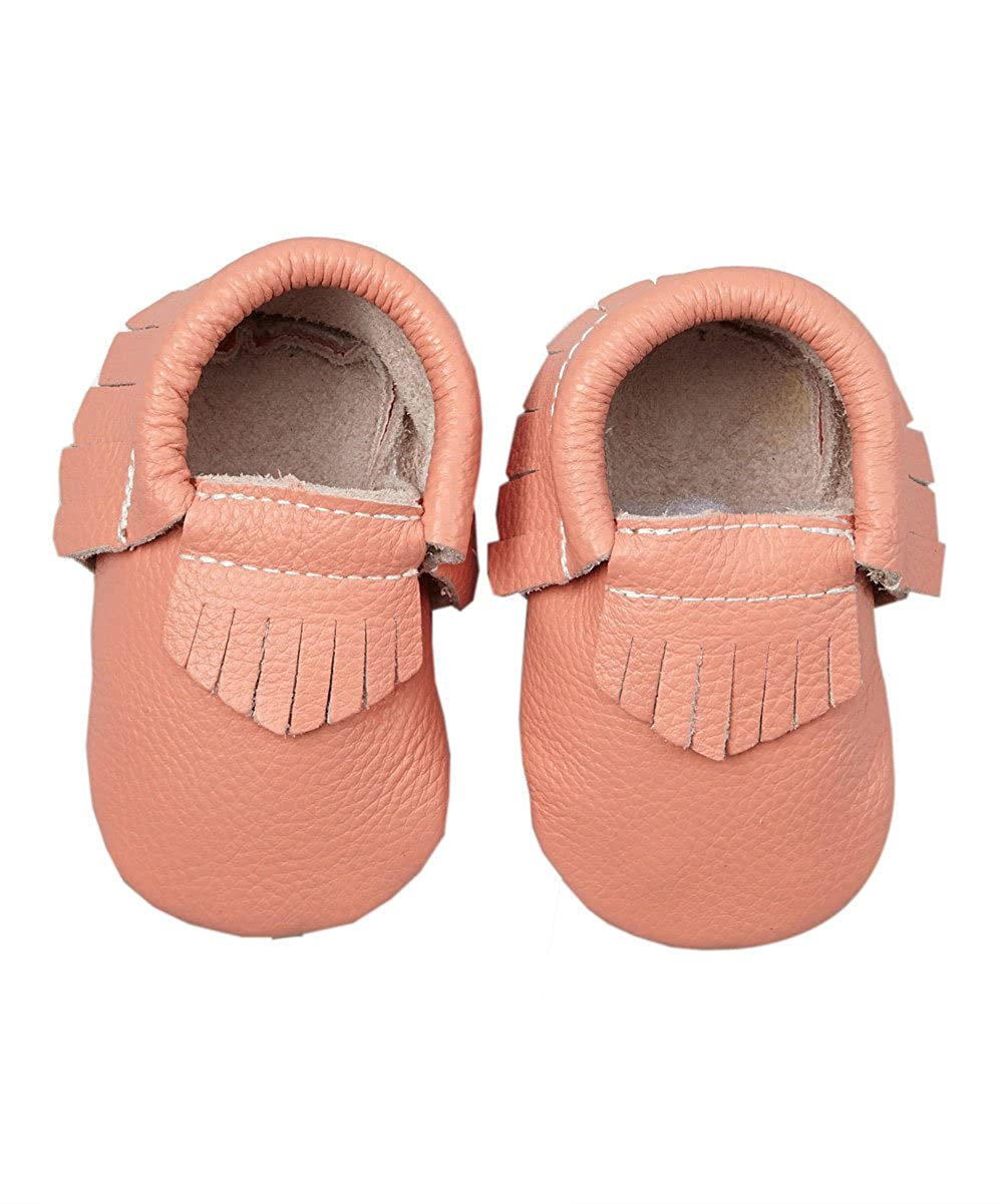 KHYKOUTURE Unisex-Child /Coral Fringe Leather Moccasin Bootie