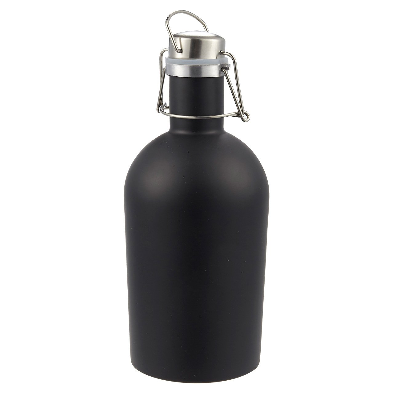 Juvale Beer Growler - Stainless Steel Water Bottle Growler for Travel, Camping, and Tailgate Parties, Black, 64 Ounces