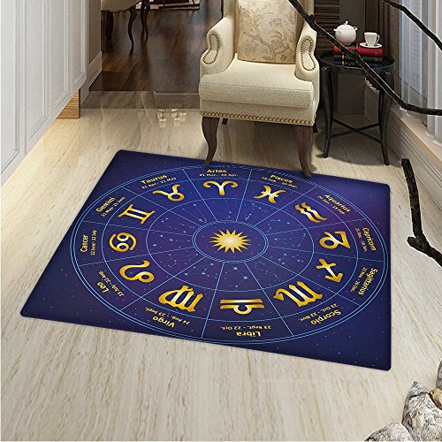 Astrology Rugs Bedroom Horoscope Zodiac Signs Birth Dates in Circle Star Dots Print Circle Rugs Living Room 4'x5' Royal Blue Yellow