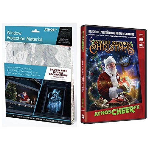 AtmosFEARfx Christmas Digital Decorations Kit includes AtmosFX 4 ft x 6 ft Projection Screen + AtmosCHEERfx Christmas Video (Night Before Christmas DVD)