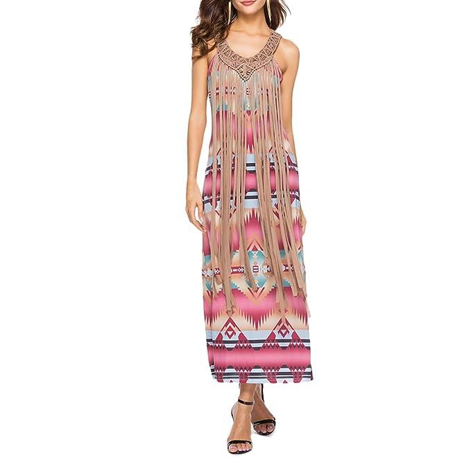 Zhhlaixing Vestido Boho Chic para Mujeres - Fashion Off the Shoulder Halter Dress Printing Tassel Wrap