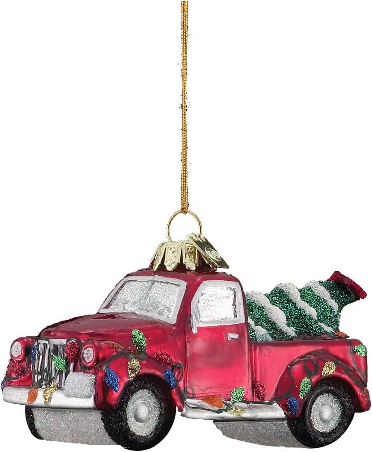 Noble Gems Kurt Adler 4-Inch Glass Truck with Christmas Tree Ornament