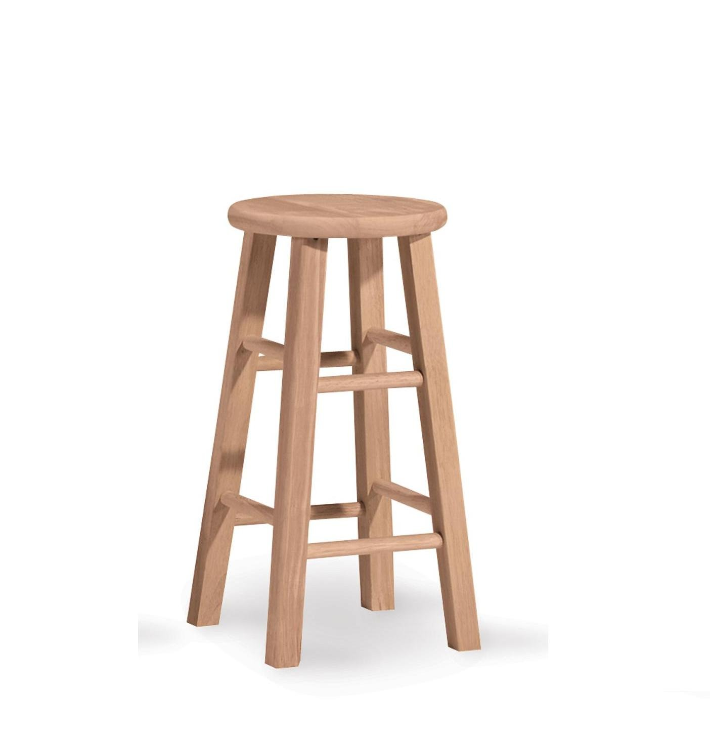 International Concepts 1S-524 24-Inch Round Top Stool, Unfinished