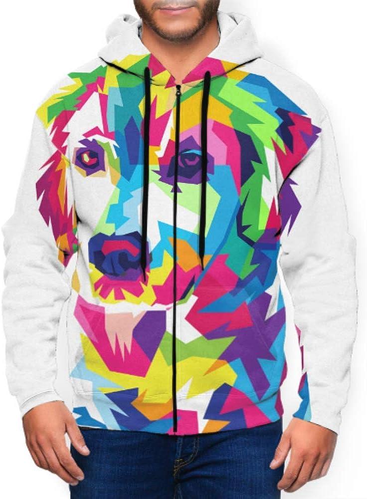 WHDKG Long Sleeve Hoodie Print Colorful Dog Jacket Zipper Coat Fashion Mens Sweatshirt Full-Zip S-3xl