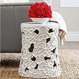 Abbyson Osla Antique White Ceramic Garden Stool