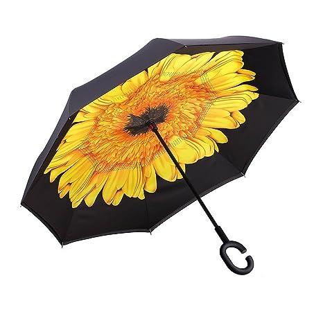 Paraguas reversible Flor Amarillo doble capa resistente y resistente al viento C muñeca ergonómica para manos