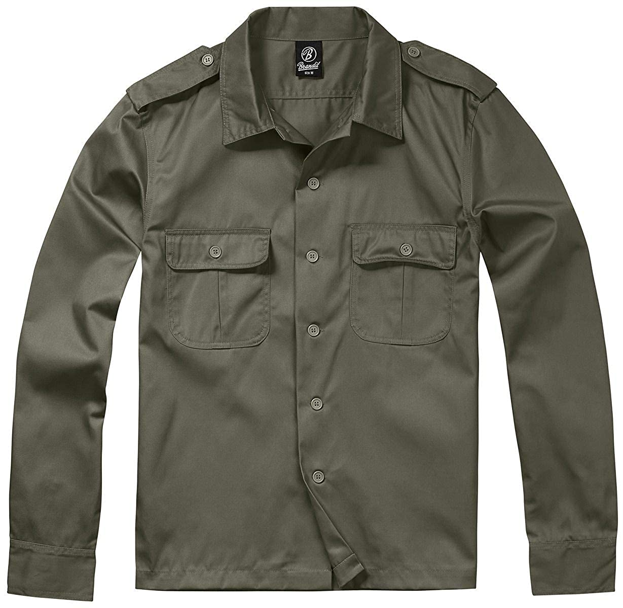 TALLA XX-Large. Brandit Hombres Camisa 1/1 Manga Larga Oliva