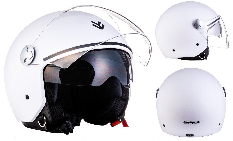 "ARMOR · AV-63 ""Matt Black"" (Schwarz) Motorrad-Helm Scooter-Helm   Click-n-Secure Clip · Tragetasche · S (55-56cm) Soxon Helme - UK AV-63 matt black - S"