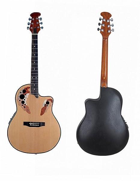 ADM Tapa de pícea Cutaway redonda eléctrica y acústica guitarra parte trasera con ecualizador de 4