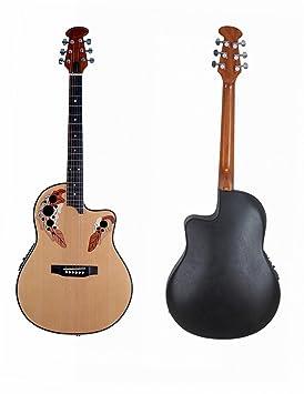 ADM Tapa de pícea Cutaway redonda eléctrica y acústica guitarra parte trasera con ecualizador de 4 bandas: Amazon.es: Instrumentos musicales