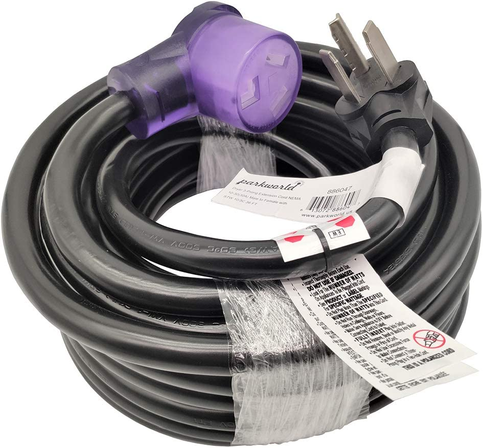 Parkworld Dryer 3 Prong Extension Cord UL Listed, NEMA 10-30 Extension Cord, EV 10-30P to 10-30R with Lighted, 30A, 250V, 7500W UL Listed