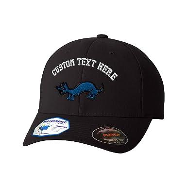 official photos 85959 e81ad Amazon.com  Custom Text Embroidered Cute Weasel Flexfit Hat Baseball Cap   Clothing