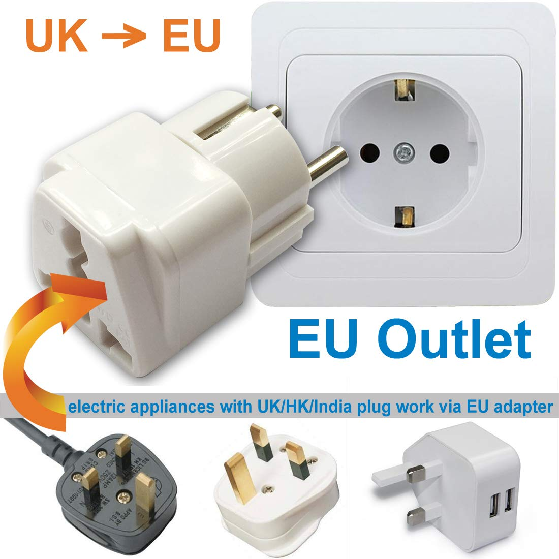 Travel Adaptor for EU/DE/FR/IT/ES, Plug for US/AU/JP/CN/UK Electronic Appliance Adapt to EU 2 Pins Outlet (1 Piece)