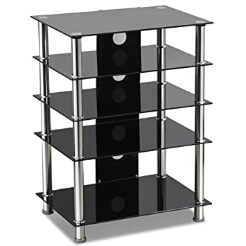 Tinxs 3 5 Tiered Black Glass Tv Stand With Cable Management For
