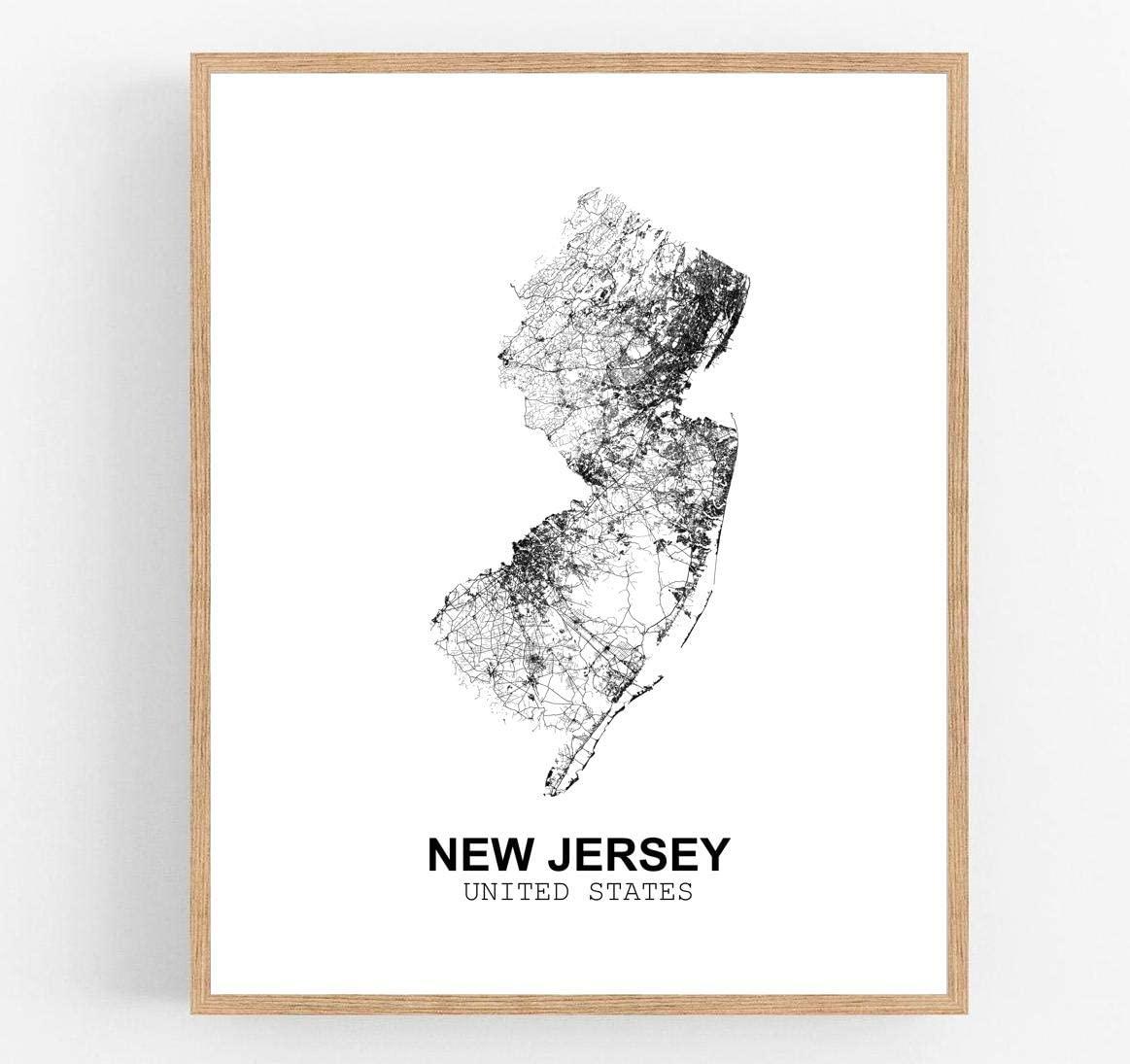 Eleville 11X14 Unframed New Jersey United States Country View Abstract Road Modern Map Art Print Poster Wall Office Home Decor Minimalist Line Art Hometown Housewarming wgn186
