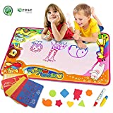 Water Drawing Mat Kids Toys Doodle Mat Toddlers Painting Magic Writing Large with Magic Pens Brush for Boys Girls Educational Learning Gift Size 34.5 X 22.5