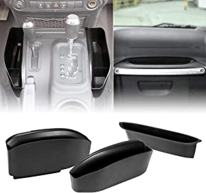 SUPAREE Jeep JK Grab Tray Passenger Storage Tray Organizer & GearTray Gear Shifter Console Storage Organizer for 2011-2018 Jeep Wrangler JK JKU Rubicon Sport Sahara, Black (3 PCS)