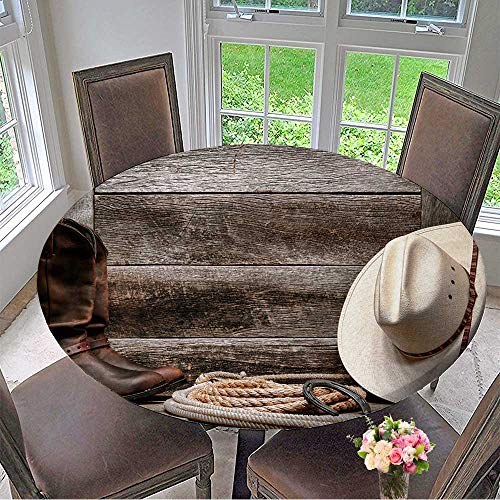 "Round Polyester Tablecloth Table Cover Rodeo Traditional White Straw Cowboy hat with Authentic Western Lariat Lasso and Roper for Most Home Decor 55""-59"" Round (Elastic Edge)"