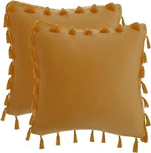 PiccoCasa 2Pcs Soft Velvet Throw Pillow Covers, Tassels Fringe Throw Pillow Cases, Decorative Cushion Cover for Sofa Bedroom Livingroom Home Decor, 18 x 18 Inch, Camel