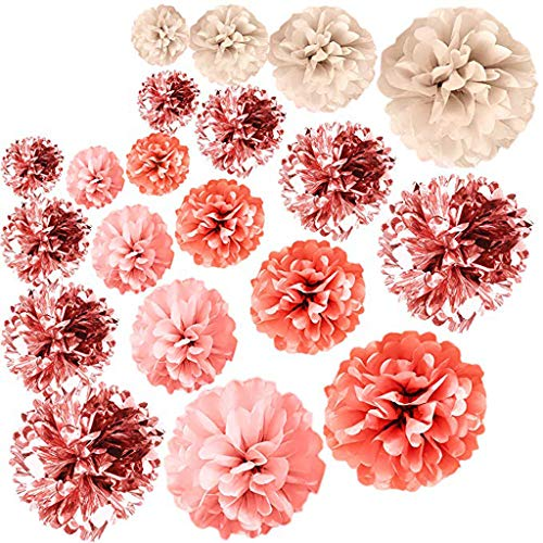 Startview Rose Gold Party Decorations, 20 PCS Metal Foil Ornament, Tissue Baby Shower, Home (Multicolor, 20 PCS)