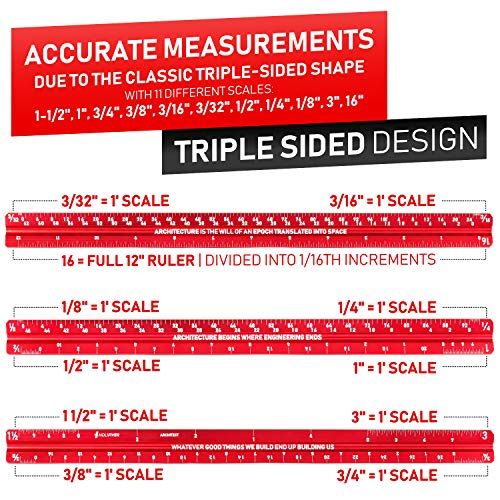 HoliFiver Triangular Architectural Scale Ruler - 12
