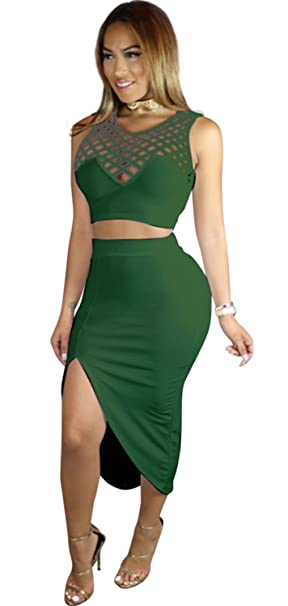 876f37ae8b99 2 PCs Sleeveless Caged Cut Out Cropped Crop Top and Front Side Split Slit  High Low