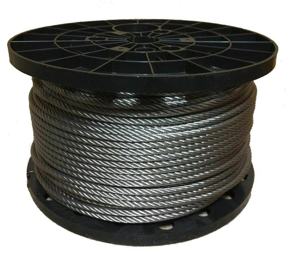 Stainless Steel Aircraft Cable Wire Rope 7x19 Type 304 (200 Feet) 1/8''